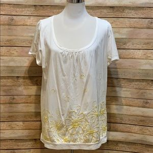 INC white blouse with yellow flowers